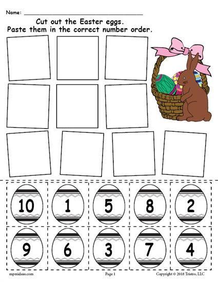Free Printable Easter Egg Number Ordering Worksheet Numbers 1