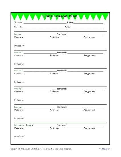 Detailed Unit Lesson Plan Template – Elementary – Reading