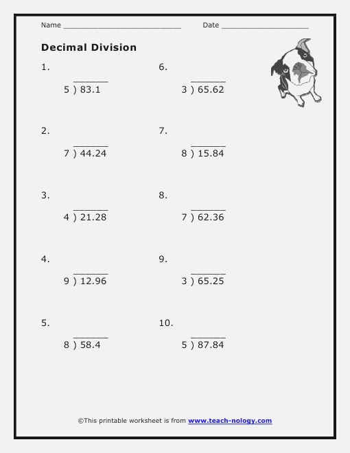 Decimal Division Worksheets 6th Grade – Dailypoll Co