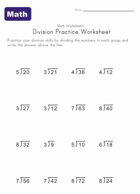 Simple Division Worksheet 1