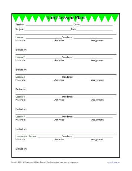 Detailed Unit Lesson Plan Template