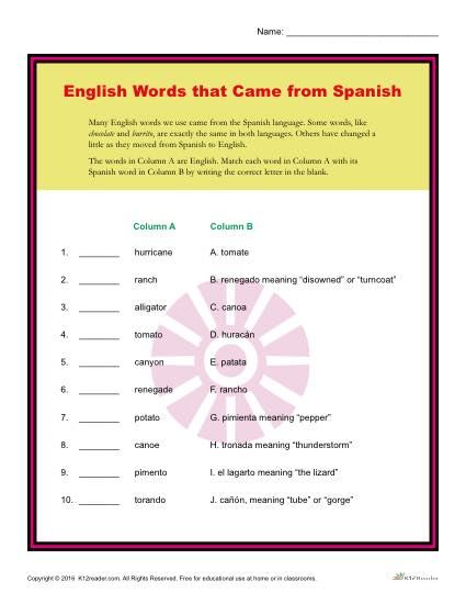 Hispanic Heritage Worksheet