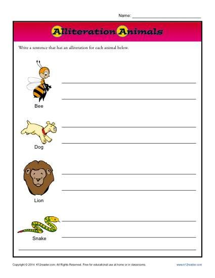 Alliteration Animals Printable Worksheet Activity