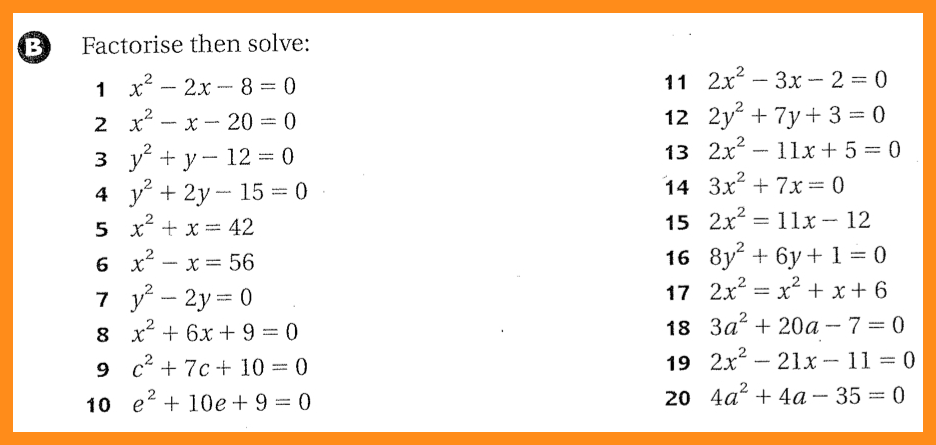 Quadratic Equations By Factorisation Worksheet