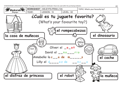 Christmas Worksheet Spanish