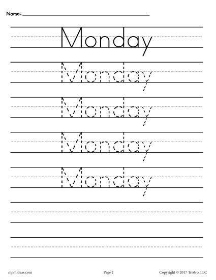 7 Free Days Of The Week Handwriting Worksheets