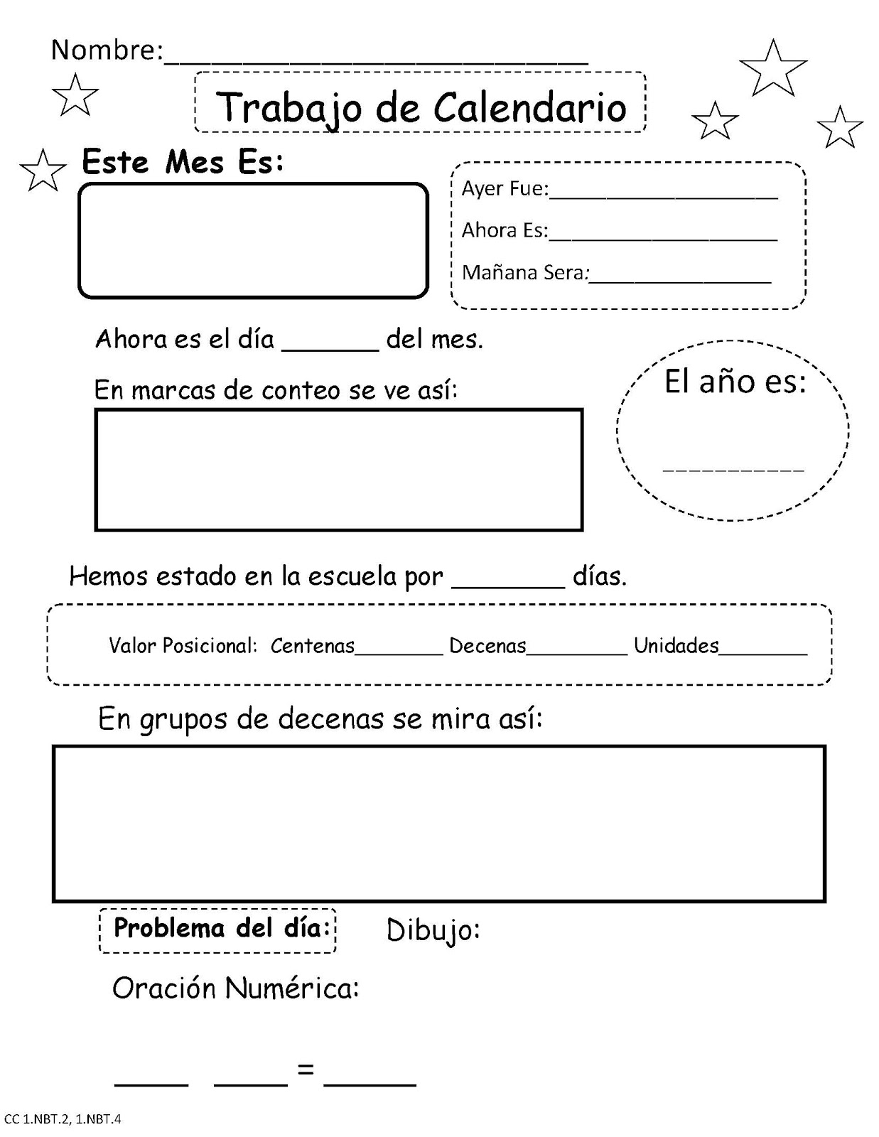 Worksheets In Spanish For First Grade