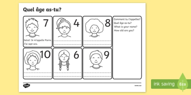 Say Your Age French Worksheet