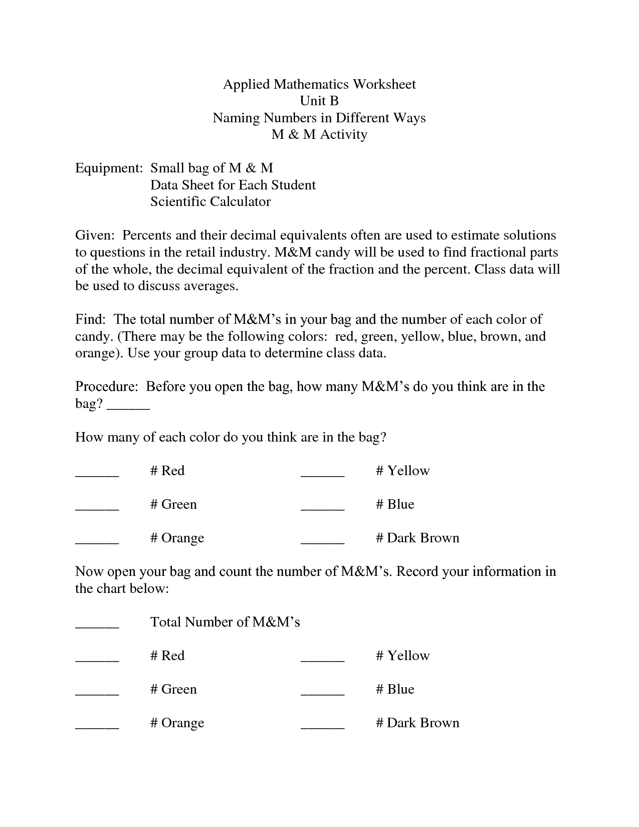 Free Applied Math Worksheets