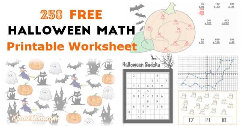 250 Free Halloween Math Printable Worksheets