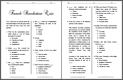 French Revolution Pop Quiz