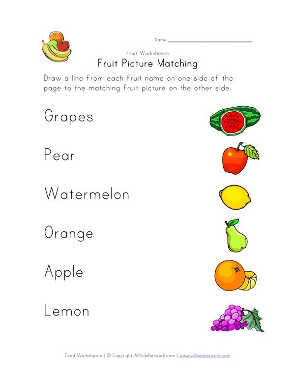 Fruit Matching Worksheet