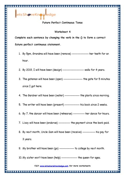 Grade 4 English Resources Printable Worksheets Topic  Future