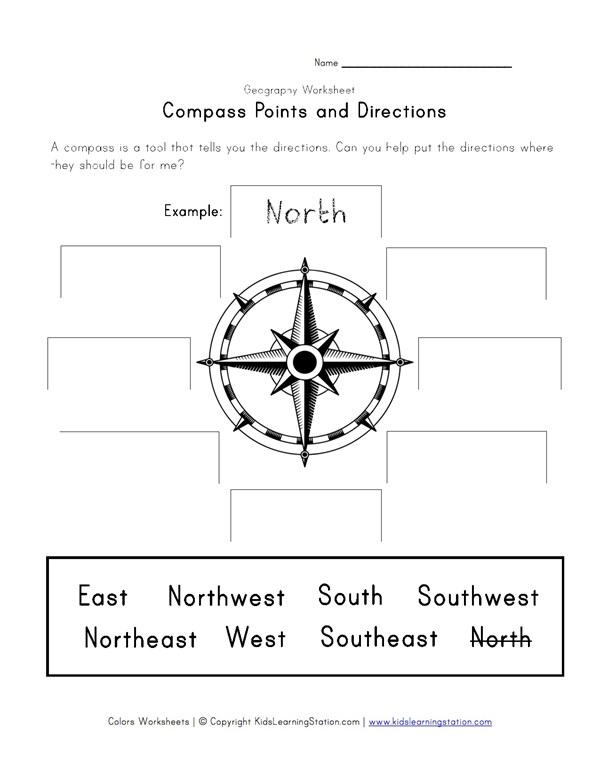 Compass Points And Directions Worksheet