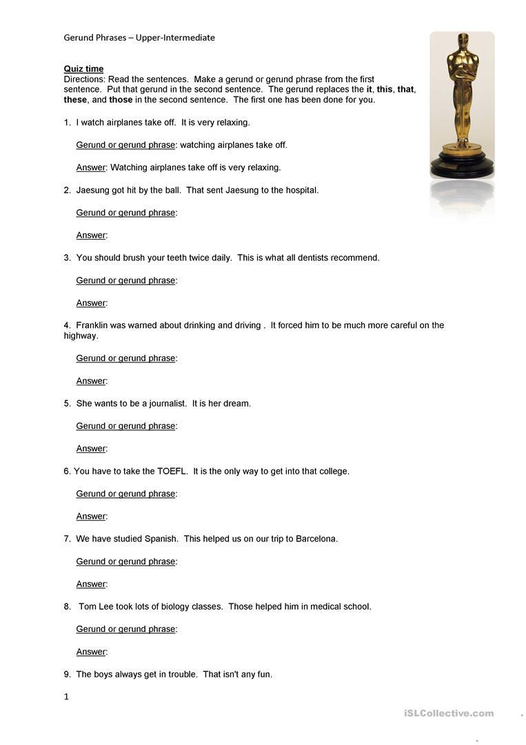 Gerund Phrase Worksheet