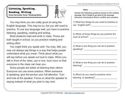Listening, Speaking, Reading, Writing