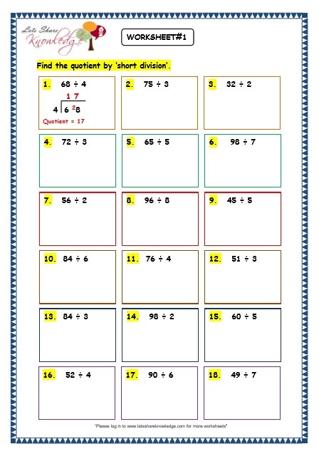 Grade 3 Maths Worksheets  Division (6 6 Short Division Without