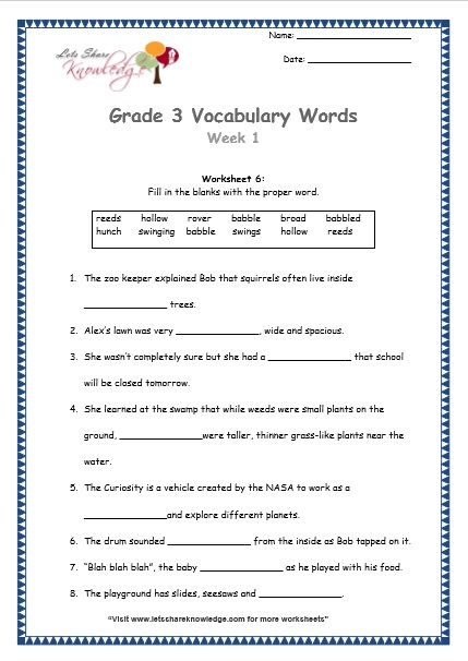 Grade 3  Vocabulary Worksheets Week 1