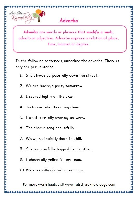 Grade 3 Grammar Topic 16  Adverbs Worksheets – Lets Share Knowledge