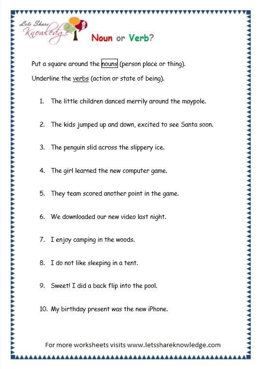 Grade 3 Grammar Topic 5  Parts Of Speech Worksheets