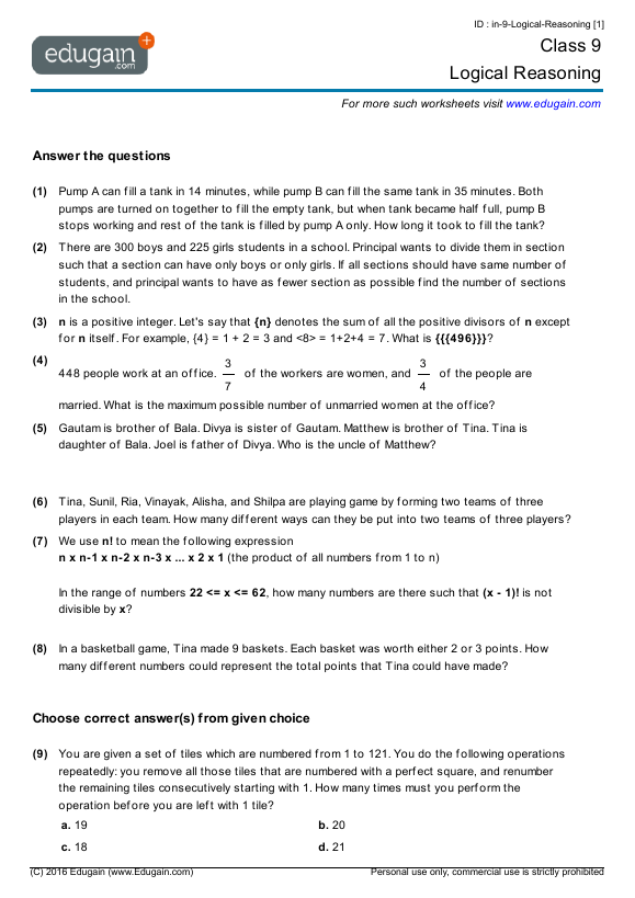 Grade 9 Math Worksheets And Problems  Logical Reasoning