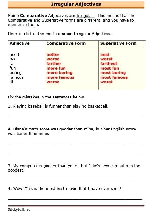 Grammar Worksheets Irregular Adjectives Download As A File Fun