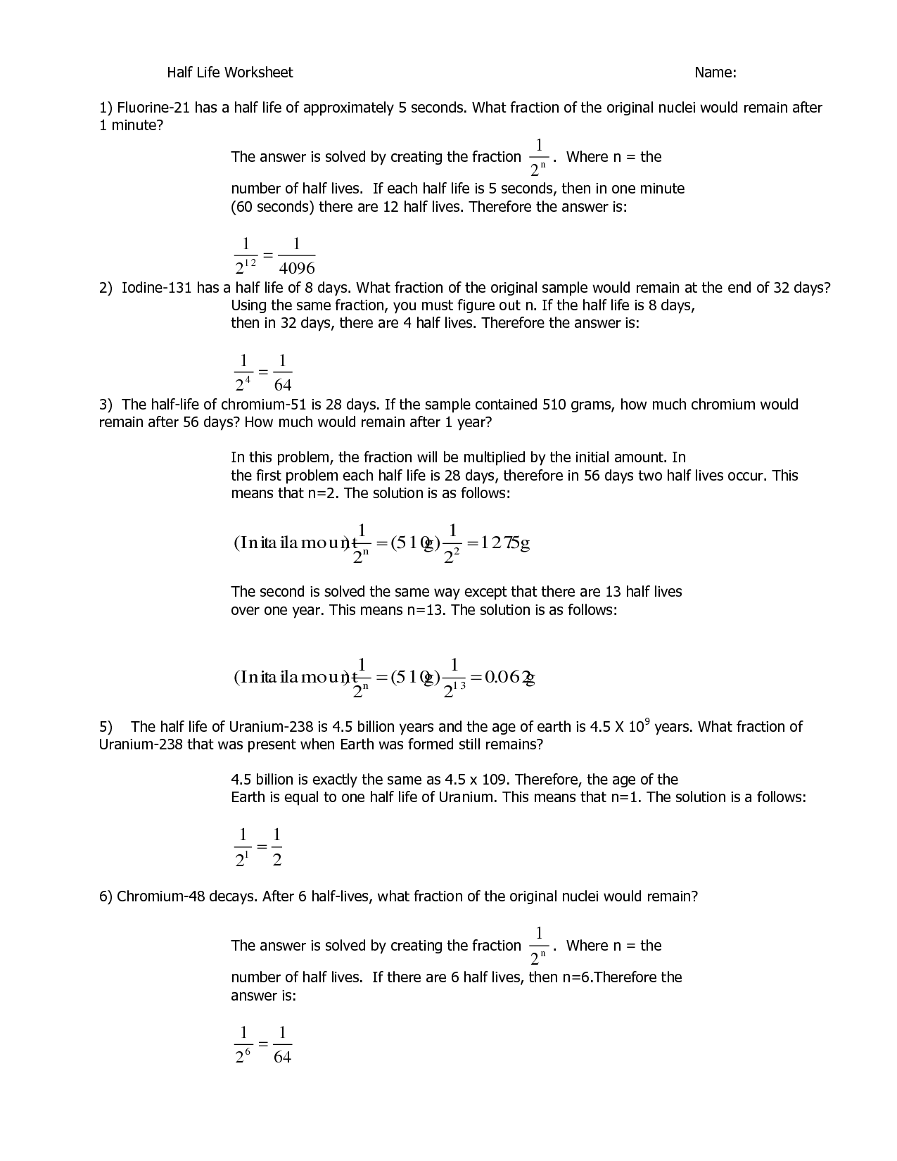 Half Life Problems Worksheet