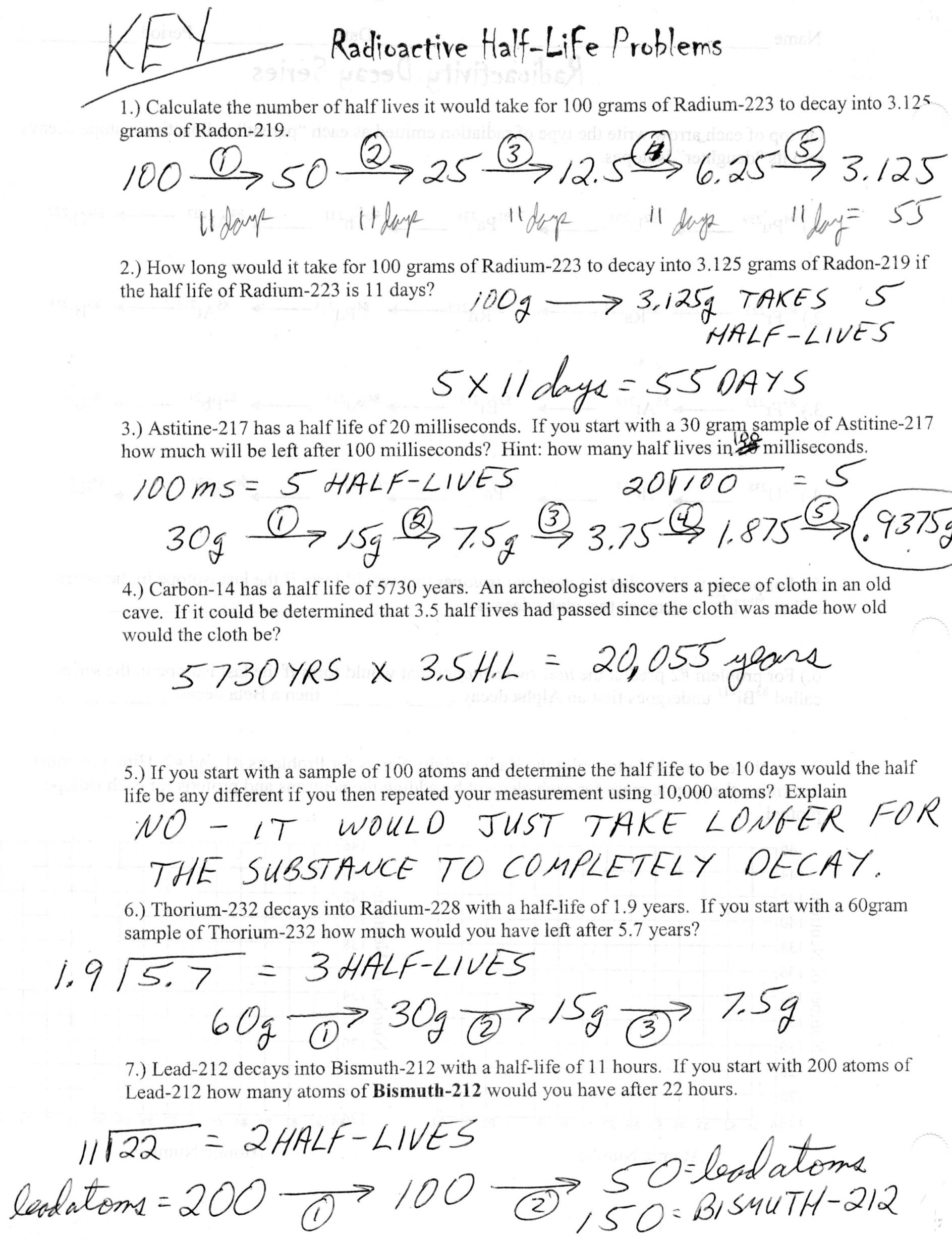 Half Life Worksheet Answers
