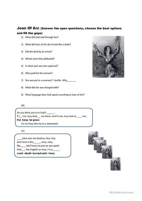 History Joan Of Arc  Video Worksheet