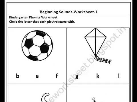 Free Download Kindergarten Beginning Sound Worksheets