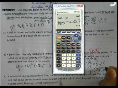 Alg 2 Unit 2 Quadratic Word Problems Projectile Motion