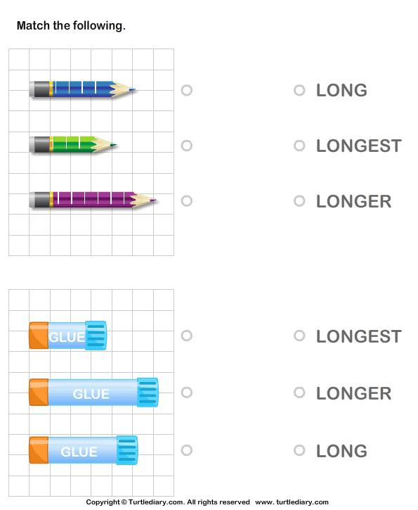 Identify Long Longer Longest Object Worksheet