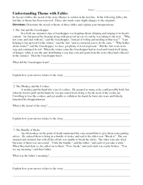 Identifying Theme Worksheets 3rd Grade – Nrplaw Com