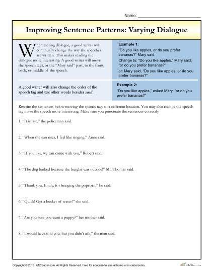 Sentence Patterns  Varying Dialogue