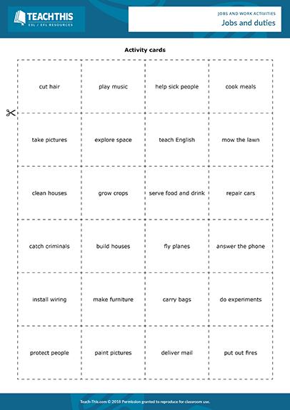 Jobs Work Esl Activities Games Worksheets