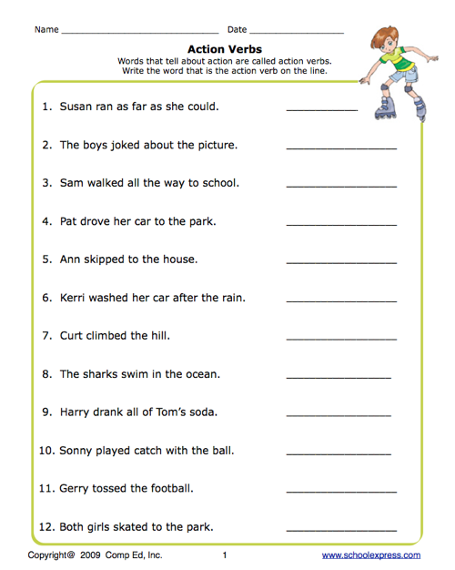 School Express Action Verbs Worksheet