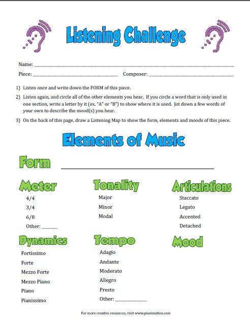 Listening Challenge Worksheets