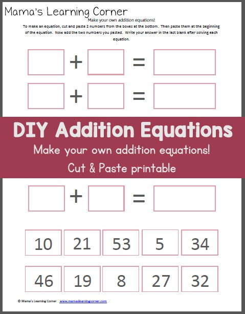 Make Your Own Addition Worksheet (cut & Paste)
