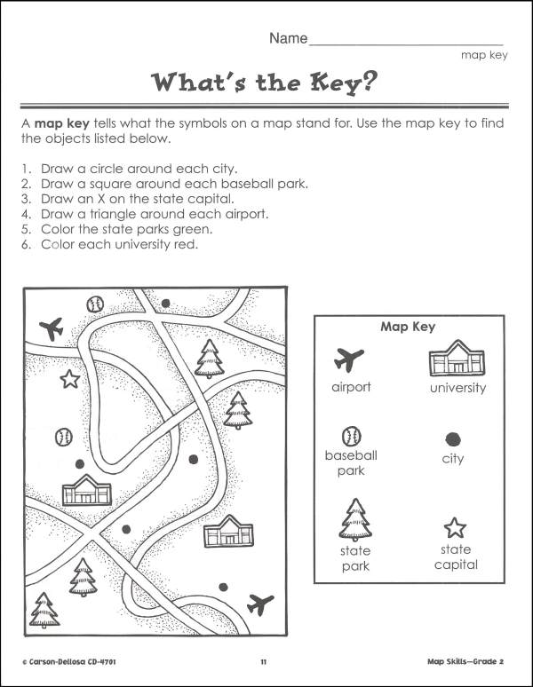 Map Skills Worksheet 2nd Grade Worksheets For All