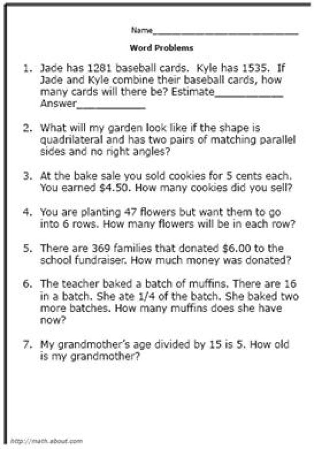 Worksheets For 4th Grade Math Problems