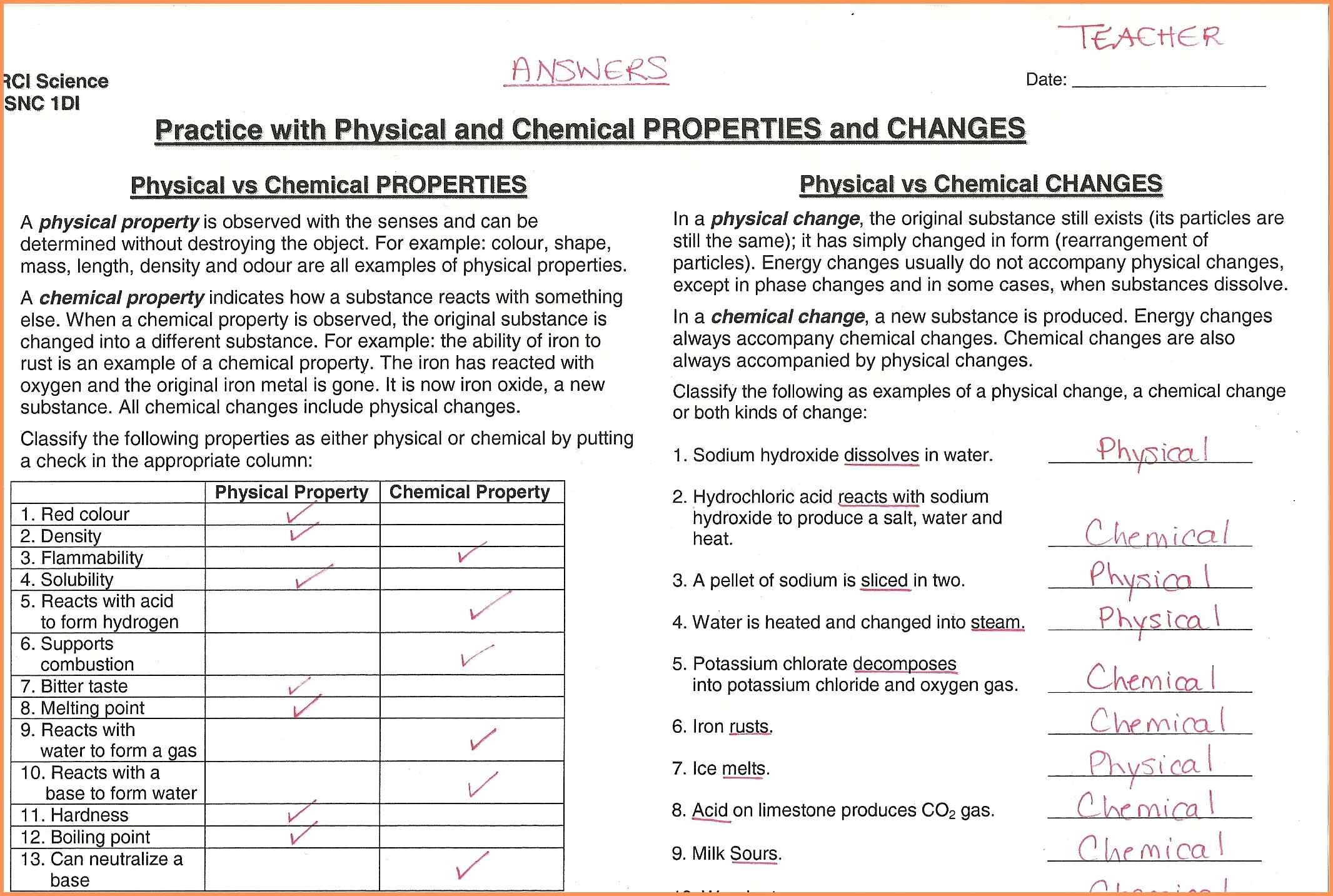 Unit 2 Worksheets Classification Of Matter Properties And Changes