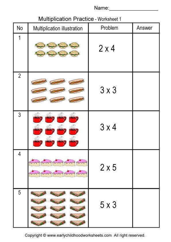 Multiplication Worksheets For Kindergarten  143334