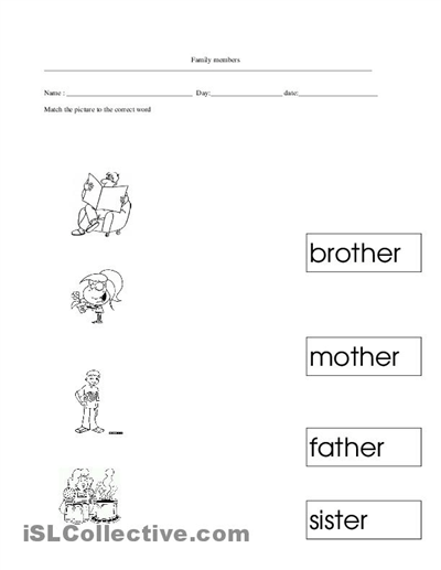Family Worksheets For Kindergarten