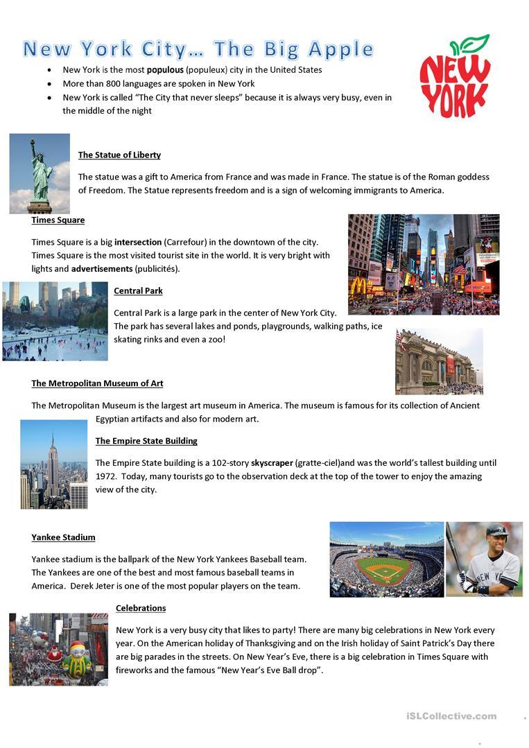 72 Free Esl New York Worksheets