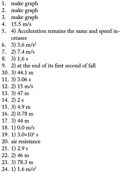 Free Fall Ws Answers