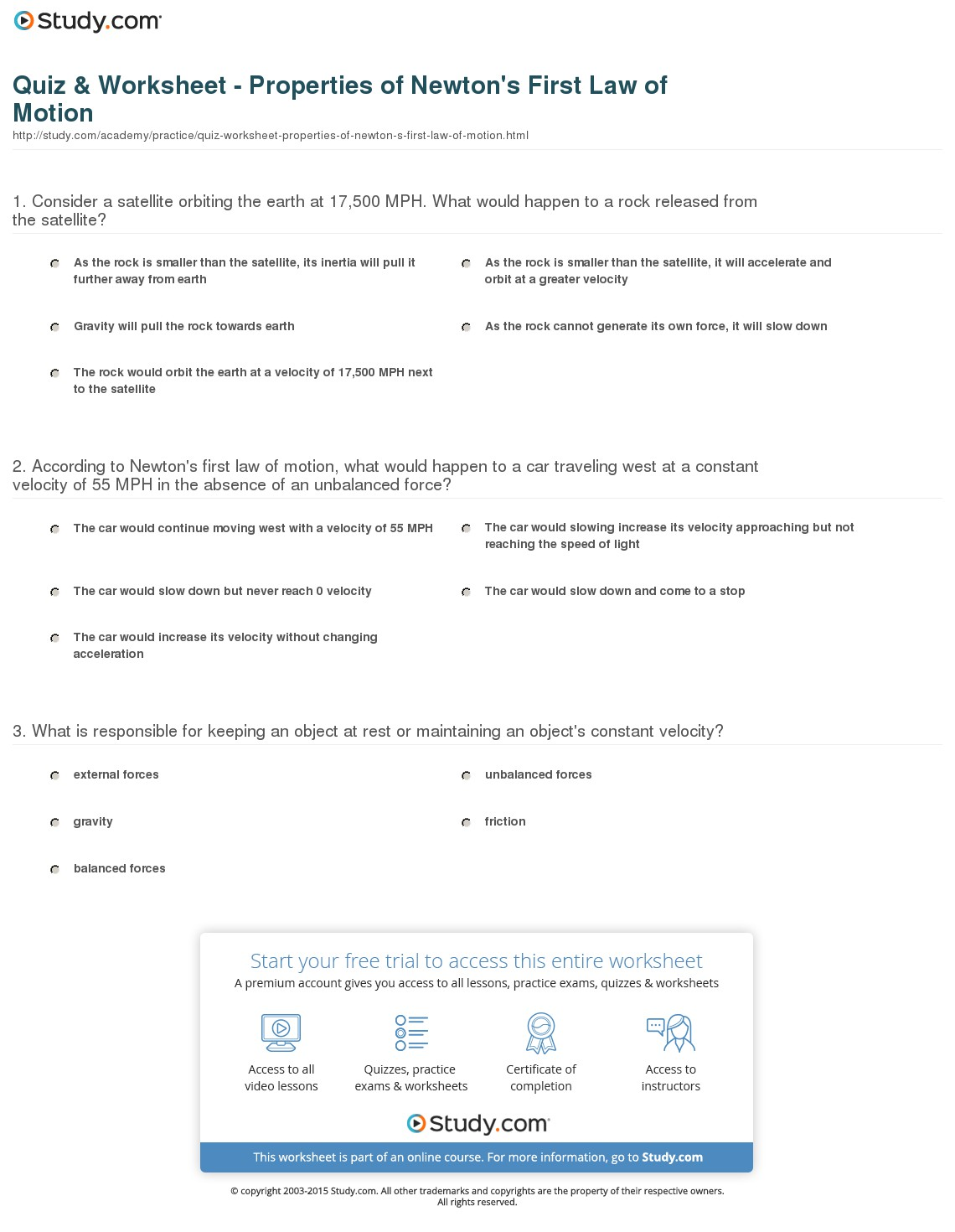 All About Quiz Amp Worksheet Properties Of Newtons First Law Of