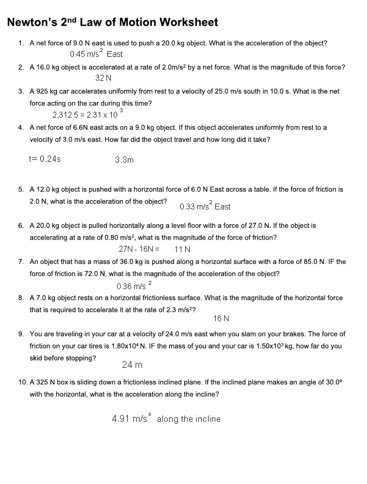 Worksheet Newton S Second Law Answers