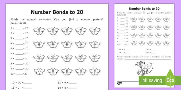 Number Bonds Within 20 Worksheet   Activity Sheet