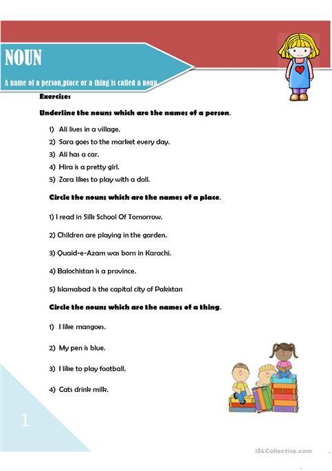 Noun And Its Types Worksheet