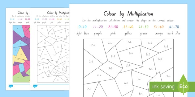 Colour By Multiplication Worksheet   Activity Sheet